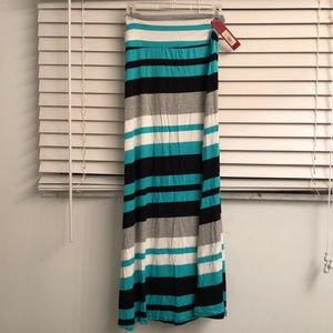Aqua, gray, white and black maxi skirt